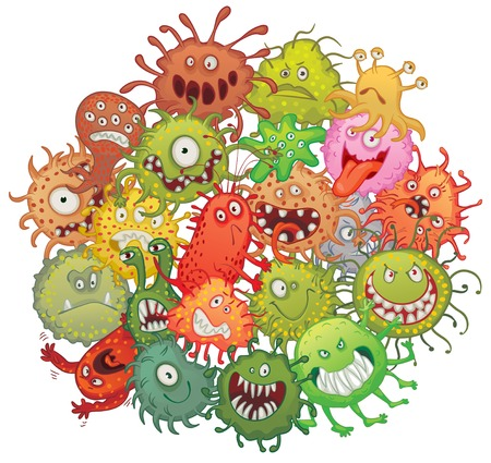 bacteria cartoon: The accumulation of bacteria. Vector illustration. Isolated on white background