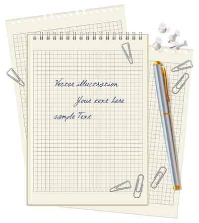 pluma y papel: Material de oficina dispersos en el escritorio. L�piz, clips de papel y botones. Vista superior. Ilustraci�n del vector. Aislado en el fondo blanco. Conjunto