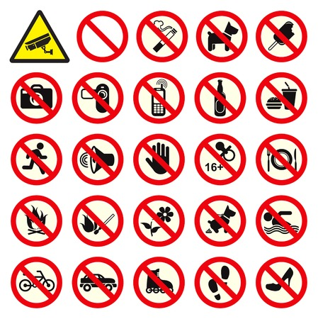Various Collection of Prohibited sign Vector
