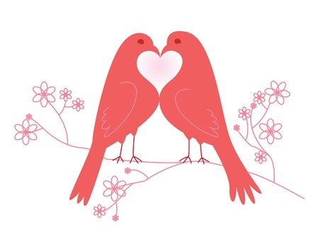 lovebirds: Pair of lovebirds. Valentines Day. Vector illustration. Isolated on white background