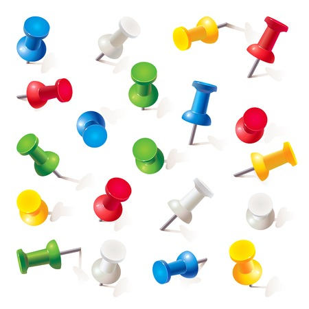 Set of push pins in different colors. Thumbtacks. Top view. Vector illustration. Isolated on white background. Set Ilustração