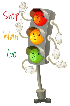 rules of the road: Traffic light  Follow the rules of the road  Rules for pedestrians  Vector illustration  Isolated on white background