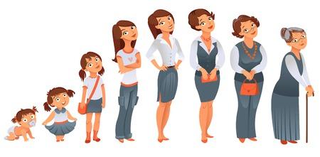 세대는 모든 연령 범주를 한 여자 - 개발의 벡터 일러스트 레이 션의 초기 단계, 어린 시절, 청소년기, 청소년, 성숙, 노년의 단계