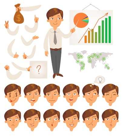 Businessman Parts of body template for design work and animation Face and body elements Funny cartoon character Vector illustration Isolated on white background Set
