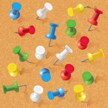 Group of thumbtacks pinned on corkboard  Front view  Vector illustration  Set