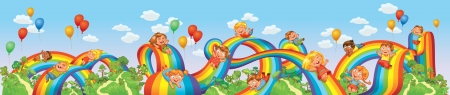 coaster: Children slide down on a rainbow  Roller coaster ride  Vector illustration  Seamless panorama