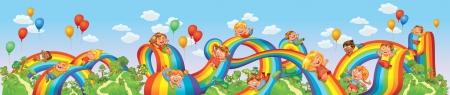 arcoiris caricatura: Los niños se deslizan hacia abajo en un arco iris Montaña rusa ilustración vectorial Seamless paseo panorama