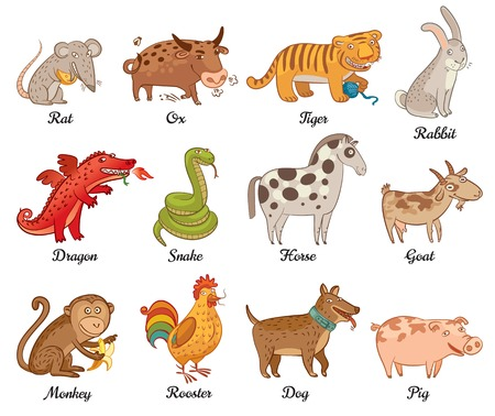 ox: Chinese astrology  Rat, Ox, Tiger, Rabbit, Dragon, Snake, Horse, Goat, Monkey, Rooster, Dog, Pig  Set  Vector illustration  Isolated on white background Illustration