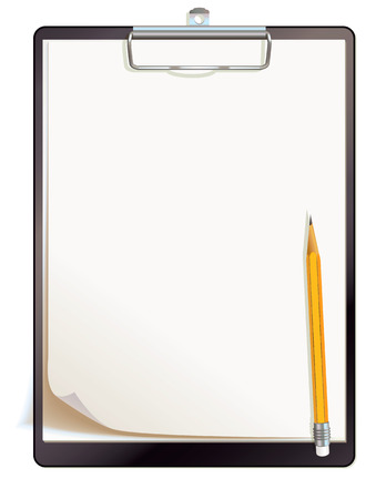 clipboard isolated: Black clipboard with blank sheets of paper  Top view  Vector illustration  Isolated on white background