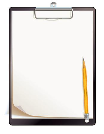 Zwart klembord met blanco vellen papier Bovenaanzicht vector illustratie geïsoleerd op witte achtergrond