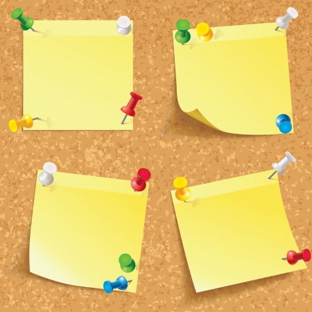 pinned: Yellow stick note  Blank notes pinned on corkboard ready for your text  Front view  Vector illustration  Set