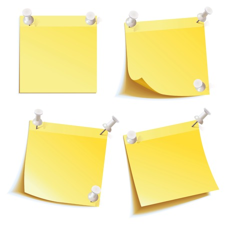 corkboard: Yellow stick note  Blank notes pinned on corkboard ready for your text  Front view  Vector illustration  Set