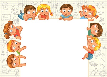 planche: Mignons petits enfants montrent une affiche vierge pour la saisie du texte Vector illustration