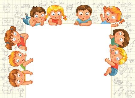 držení: Roztomilé malé děti ukazují prázdné plakát pro váš text vstup Vektorové ilustrace Ilustrace