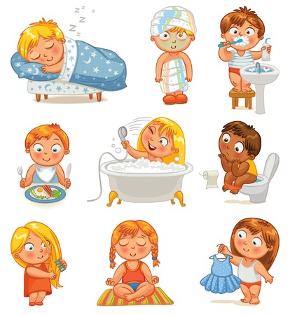 Health and hygiene  Baby girl after the shower in a bathrobe and towel, taking a bath, brushing her hair, tries on a new dress  Funny little boy brushing teeth, sitting on toilet, sleeping, breakfast Stock Vector - 24754211