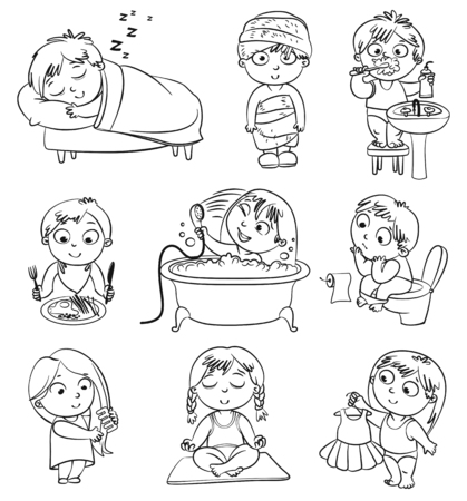 cleanliness: Health and hygiene  Baby girl after the shower in a bathrobe and towel, taking a bath, brushing her hair, tries on a new dress  Funny little boy brushing teeth, sitting on toilet, sleeping, breakfast