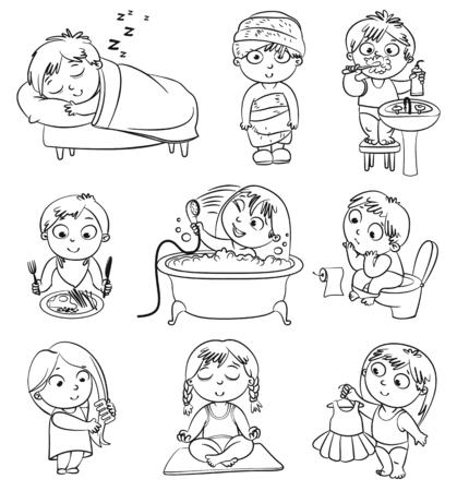 higiena: Zdrowie i higiena Dziewczynka po kąpieli w szlafroku i ręcznik, kąpieli, szczotkuje włosy, próbuje na nowej sukni Zabawna mały chłopiec szczotkowanie zębów, siedzi na toalecie, spanie, śniadanie Ilustracja