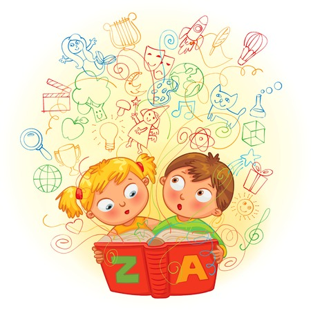 encyclopedias: Boy and girl reading a magic book. In the book come to life images. Vector illustration. Isolated on white background