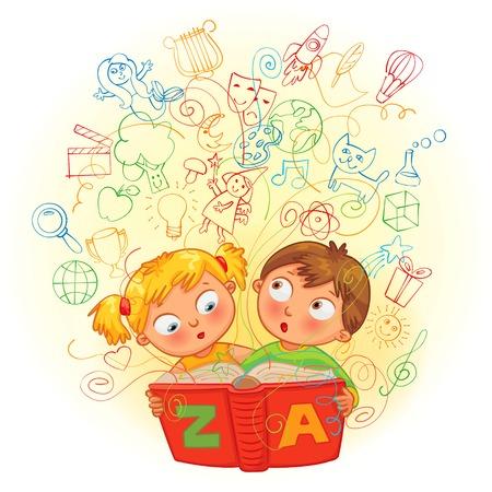 encyclopedias: El muchacho y la muchacha que lee un libro m�gico. En el libro llegado a im�genes de la vida. Ilustraci�n del vector. Aislado en el fondo blanco