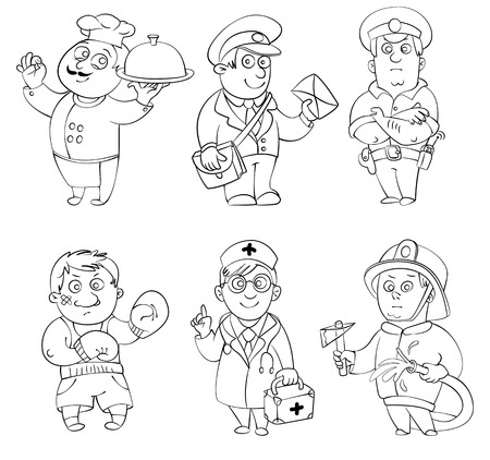 cook book: Professions Cook, postman, policeman, boxer, doctor, fireman  Coloring book  Vector illustration  Isolated on white background Illustration