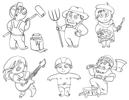 woodcutter: Professions  Builder, painter, rocker, woodcutter, swimmer, farmer  Coloring book  Vector illustration  Isolated on white background