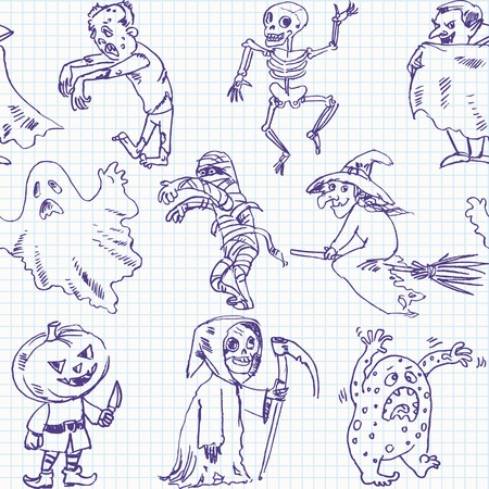 Freehand drawing halloween on a sheet of exercise book  Vector illustration  Seamless pattern Vector