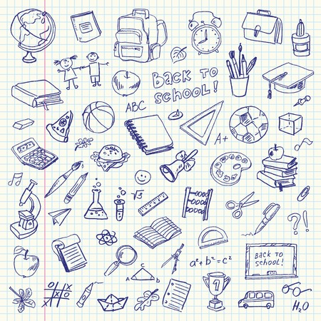 educacion: Artículos de la escuela de dibujo a mano alzada en una hoja de cuaderno Volver a la ilustración de la Escuela Vector Set