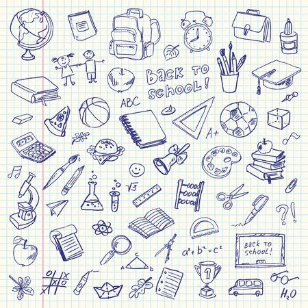 education: Articles Freehand scolaires de dessin sur une feuille de cahier d'exercices Retour à l'école Vector illustration Ensemble