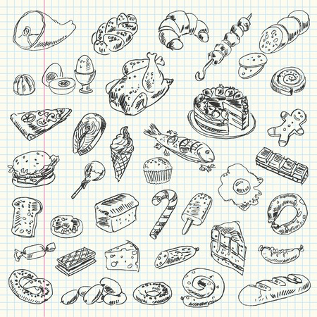 Freehand drawing high-calorie food on a sheet of exercise book Vector illustration Set