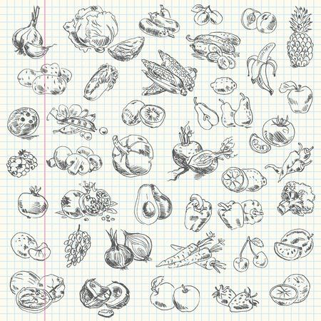 trekken: Freehand tekening groenten en fruit op een vel oefenboek Vectorillustratie Set