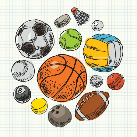 Freehand drawing sport balls  Vector illustration  Set