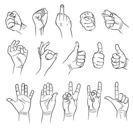 Hands in different interpretations  Vector illustration  Isolated on white background Vector