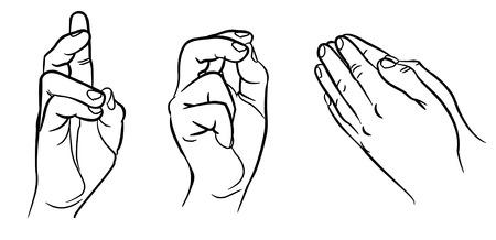 manos orando: Manos de rogación Manos de diferentes interpretaciones ilustración vectorial aislados en fondo blanco Vectores