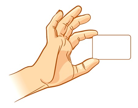 Hand holding an empty business card  Vector illustration  Isolated on white background Illustration