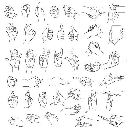 Handen in verschillende interpretaties vector illustratie geïsoleerd op witte achtergrond