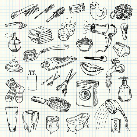 Freehand drawing hygiene and cleaning products on a sheet of exercise book. Vector illustration. Set Ilustração