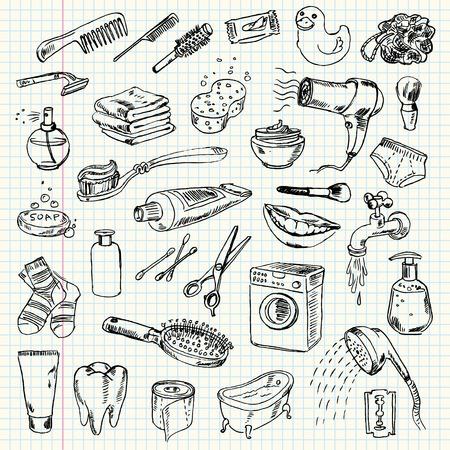 schoonmaakartikelen: Freehand tekening voor hygiëne en onderhoud op een vel oefenboek. Vector illustratie. Reeks
