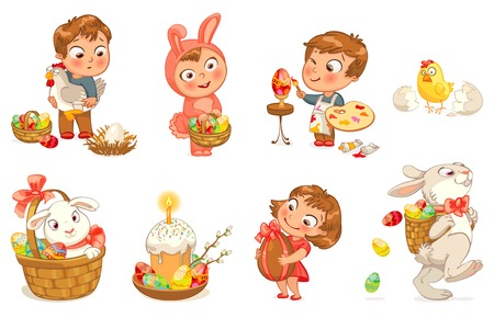 Happy Easter. Cute Easter bunny sitting in a basket, juggling with easter eggs, decorated Easter Egg. Little girl holding large chocolate egg. Boy dressed in a bunny costume. Vector illustration. Set Vector