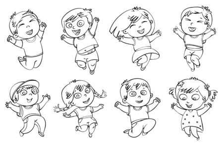 Children jump for joy. Coloring book. Vector illustration. Isolated on white background. Set