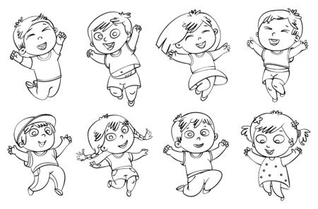 fiúk: Gyermekek ugrik örömében. Kifestőkönyv. Vektoros illusztráció. Elszigetelt fehér háttérrel. Set