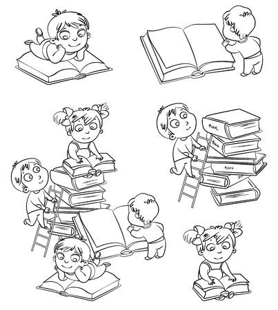 bambini che leggono: I bambini la lettura di libri in biblioteca. Libro da colorare. Illustrazione vettoriale. Isolato su sfondo bianco Vettoriali