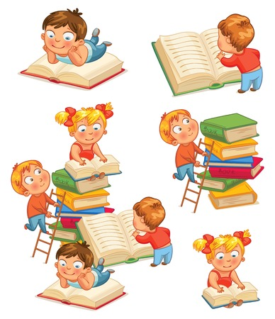 leggere libro: I bambini la lettura di libri in biblioteca. Illustrazione vettoriale. Isolato su sfondo bianco. Set
