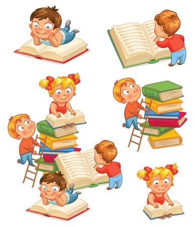 livre �cole: Les enfants � lire des livres dans la biblioth�que. Vector illustration. Isol� sur fond blanc. Set Illustration