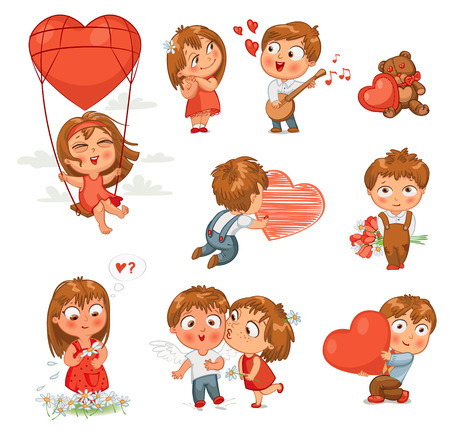 love cartoon: Shy little boy hiding behind a bouquet of flowers, draws with chalk heart, plays banjo and sings serenade, Little girl kissing boy on cheek, wonders for daisy, flying in balloon. Vector illustration