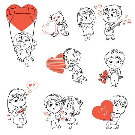 love song: Shy little boy hiding behind a bouquet of flowers, draws with chalk heart, plays the banjo and sings a serenade, Little girl kissing boy on cheek, wonders for daisy, flying in a balloon. Coloring book Illustration