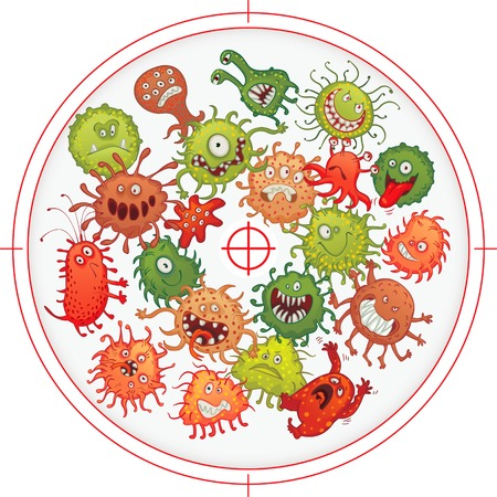 bacteria cartoon: Germs and bacteria at gunpoint. Vector illustration. Isolated on white background
