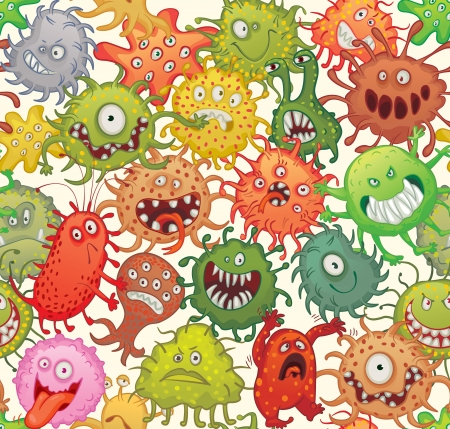 virus: Dangerous microorganisms. Seamless pattern. Vector illustration