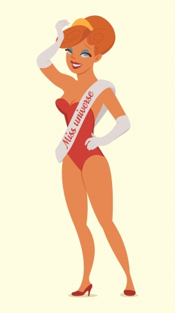 beauty queen: Queen of beauty. Miss universe. Vector illustration. Isolated