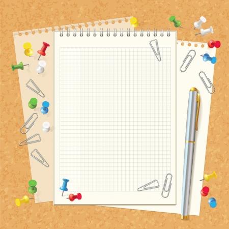 pluma y papel: Cuaderno espiral en blanco a bordo de corcho. L�piz, clips de papel y botones. Vista superior. Ilustraci�n del vector. Conjunto