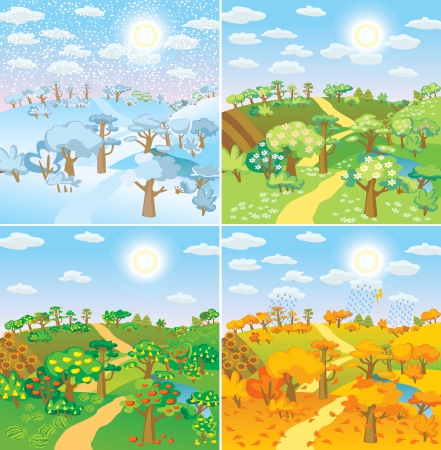 Seasons in the countryside. Beautiful natural landscapes at different time of the year - winter spring, summer, autumn Vector illustration